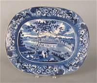 170: Historical blue Staffordshire platter, 19th c.,