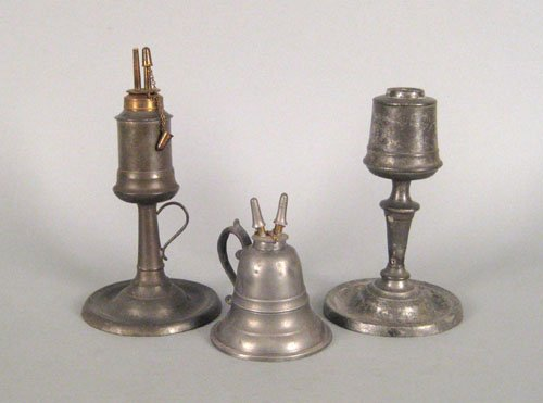 327: Two Connecticut pewter whale oil lamps, ca. 1850