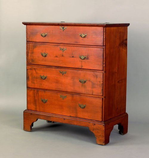 328: New England Queen Anne cherry mule chest, ca. 17