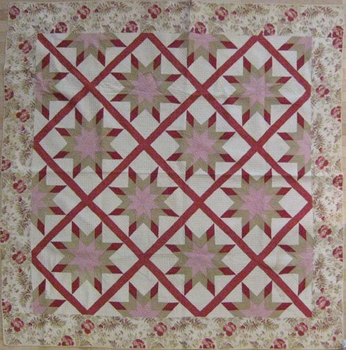 331: Appliqué star pattern quilt, late 19th c., 81''
