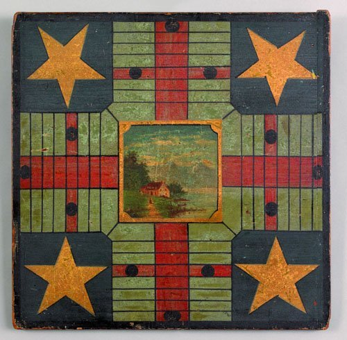 332: Painted parcheesi gameboard, 19th c., with cent