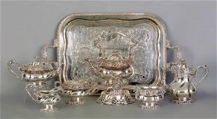 1036: Dominick & Haff silver six piece tea service, ca