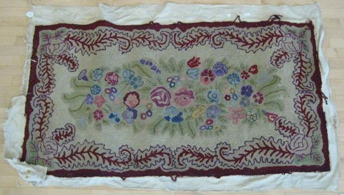 2: Hooked rug, early 20th c., 36'' x 67''.