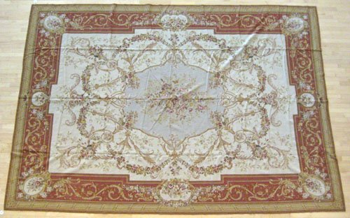 4A: Two Aubusson carpets, 13' 8'' x 10' and 11' 7'' x 8