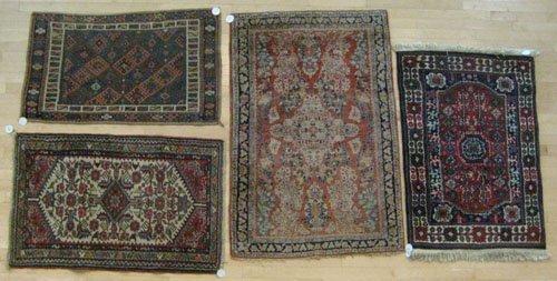 4B: Sarouk mat, 4' 8'' x 3' 2'', together with three ot