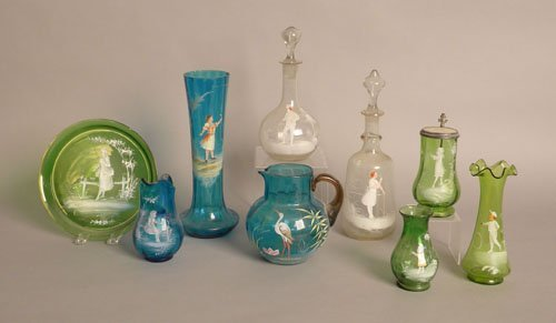 56: Nine pieces of cameo decorated glass, tallest - 1
