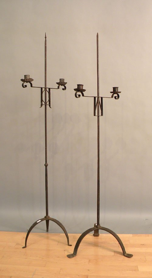 652: Two I. Marshall reproduction iron candlestands, 6