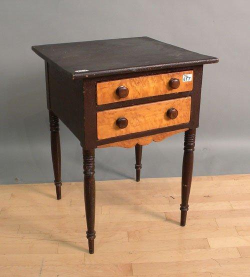 657: Sheraton 2-drawer stand, ca. 1830, 28'' h., 21'' w