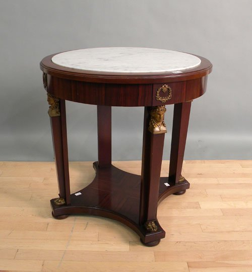 659: Egyptian revival marble top center table, 30 1/2''