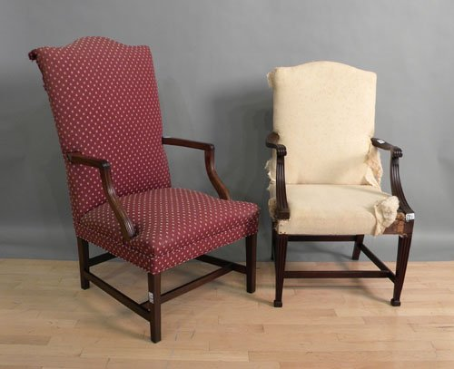 661: Two Federal style mahogany lolling chairs.