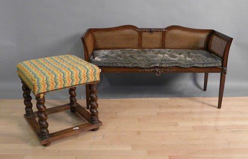 666: William & Mary style barley twist stool, 20'' h.,