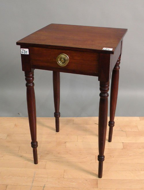 668: Sheraton red stained one-drawer stand, 19th c., 2