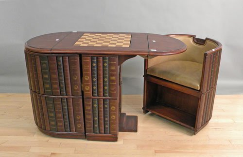 674: Mahogany games table with removable chair ends, 3