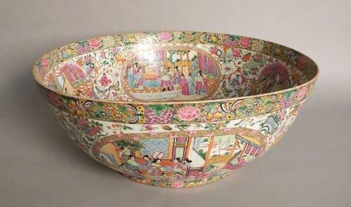 676: Massive Chinese export rose medallion porcelain b