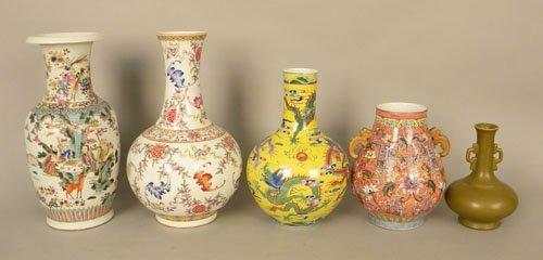 760: Five modern Chinese porcelain vases, 16 1/2'' - ta