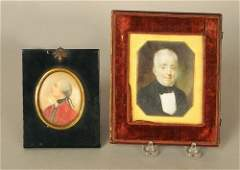 1163: Two watercolor on ivory miniature portraits of ge