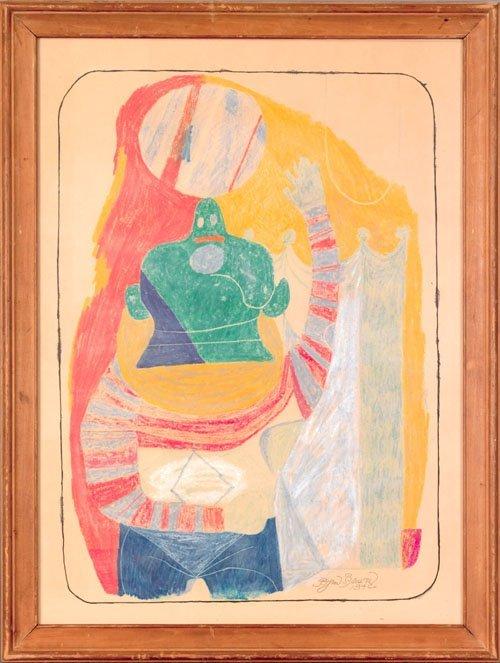 22: Byron Browne (American, 1907-1961), crayon on p