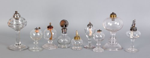 347: Collection of glass fluid lamps, 19th c., talle