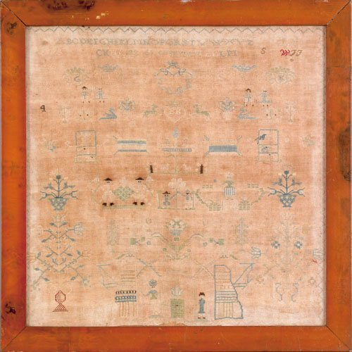 352: Continental silk on linen sampler dated 1798, 1
