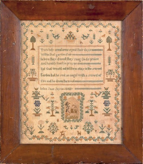 353: English silk on linen sampler dated 1848 wrought