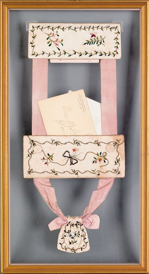 354: English silk on silk embroidered sash, early 19t