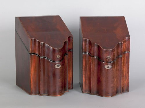356: Pair of George III mahogany knife boxes, late 18