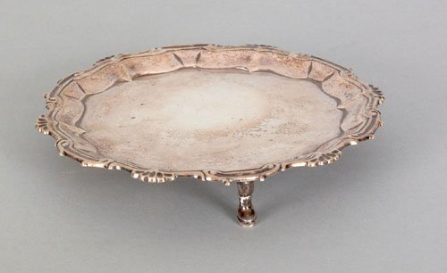 357: English silver waiter, 1754-1755, bearing the t