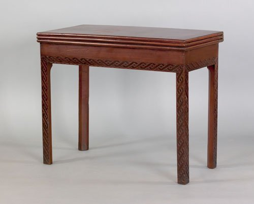 358: George III Chippendale mahogany triple top games
