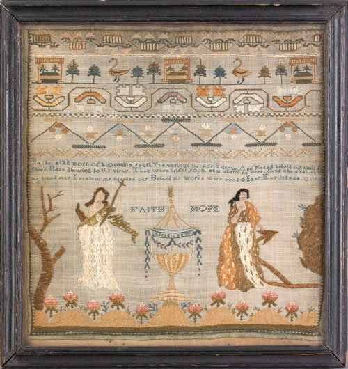 359: Silk on silk memorial needlework, ca. 1810, wit