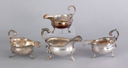 360: Pair of Georgian silver gravy boats, 1754-1755,