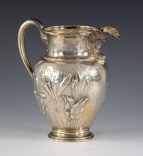 459: Continental silver art nouveau water pitcher wi