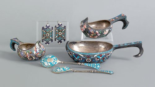 569: Three Russian silver enamel kovsh, late 19th c.