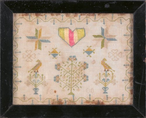 576: Exquisite silk on linen love token dated 1800 w