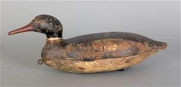 883: New England hollow body merganser decoy, early 2