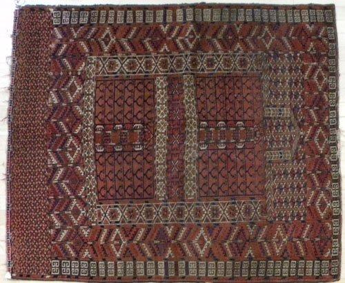 2A: Turkoman carpet, early 20th c., 4'6'' x 4'.