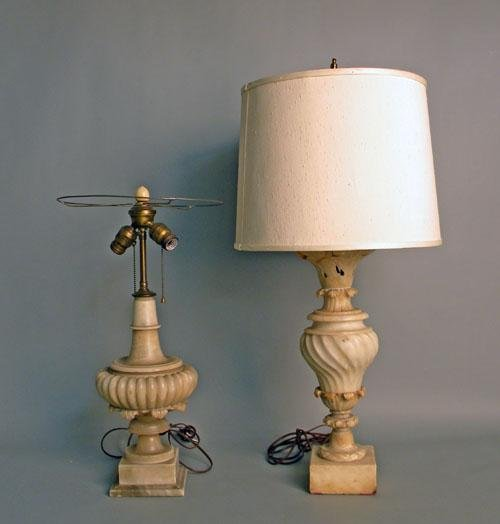 661: Two marble table lamps, marble - 15'' h., 20''h.