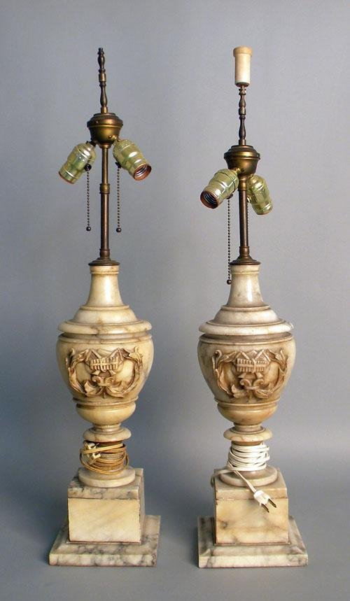 665: Pair of marble table lamps, urns - 17 3/4'' h.