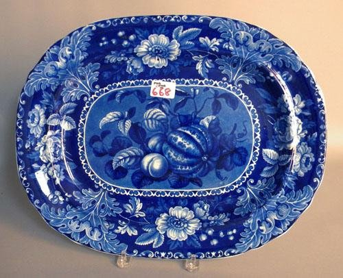 668: Blue Staffordshire fruit platter, 19th c., 14 3/4