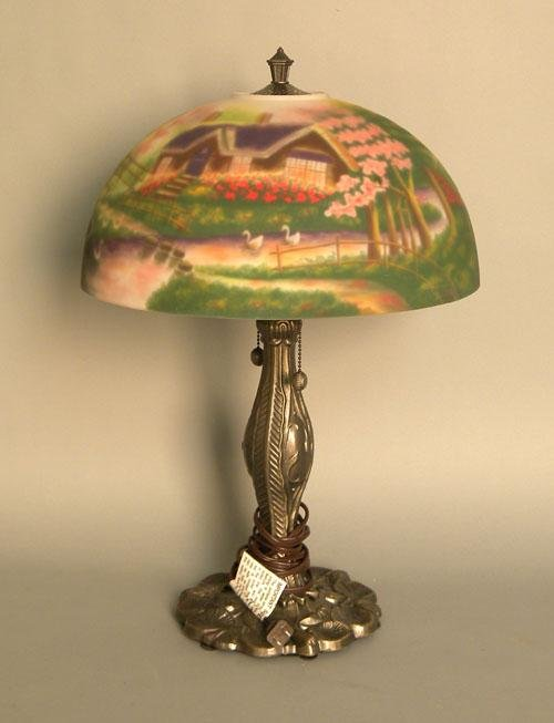 673: Modern table lamp with reverse painted shade, 23