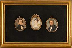 1190: Three framed watercolor on ivory miniature portra
