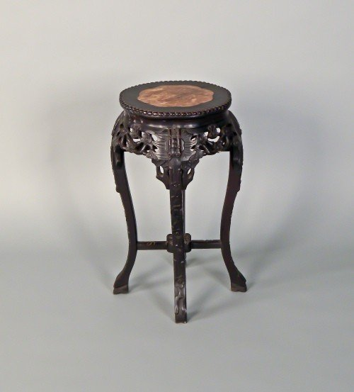 2: Chinese carved marble top stand, early 20th c., 2