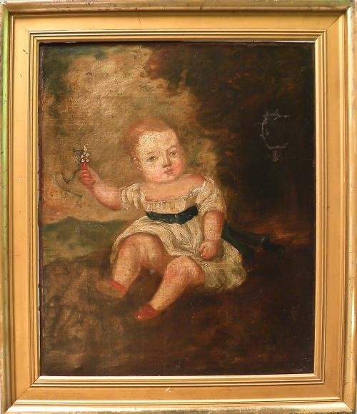 9: English oil on canvas portrait of a young girl, 1