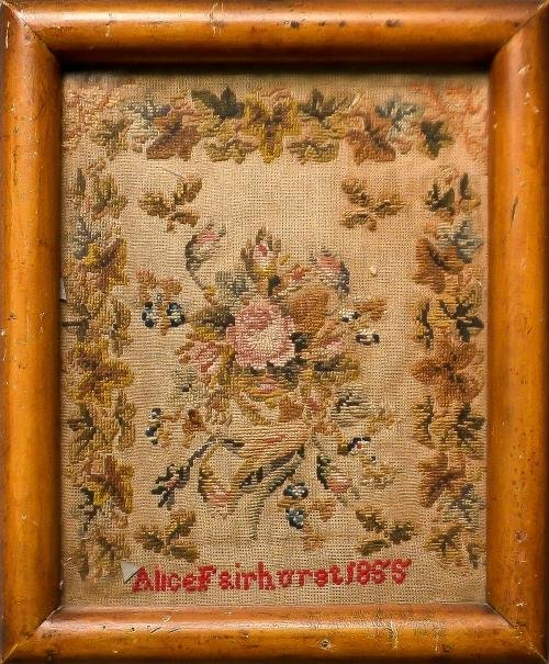 12: English silk on linen sampler dated 1834 and wrou