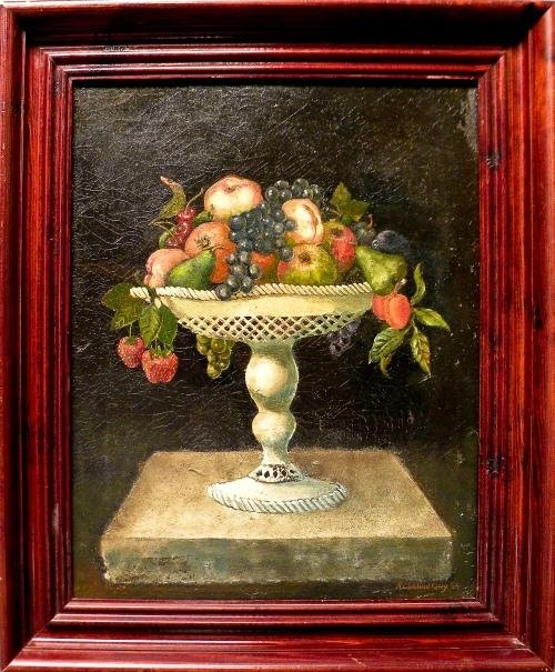 13: Oil on canvas still life of a compote of fruit, s