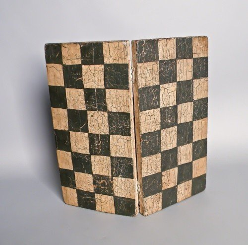 14: American painted hinged checkerboard, early 20th