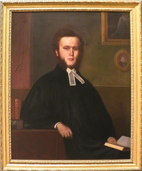 18: American oil on canvas portrait of a clergyman, m