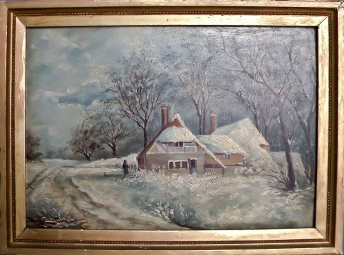 21: Oil on board winter landscape with a cottage, lat