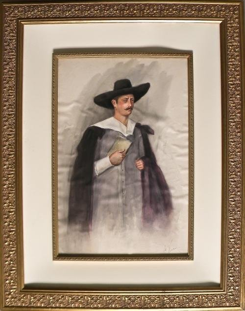 23: Watercolor portrait of a padre, signed lower righ