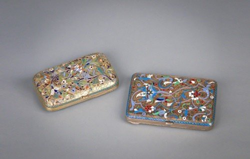 74: Two Russian silver enamel cigarette cases, 2 3/4''