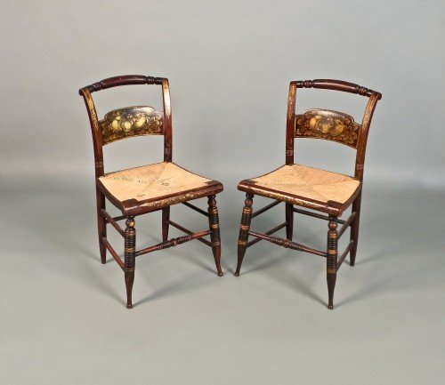 505: Pair of painted rush seat fancy chairs, ca. 1835.